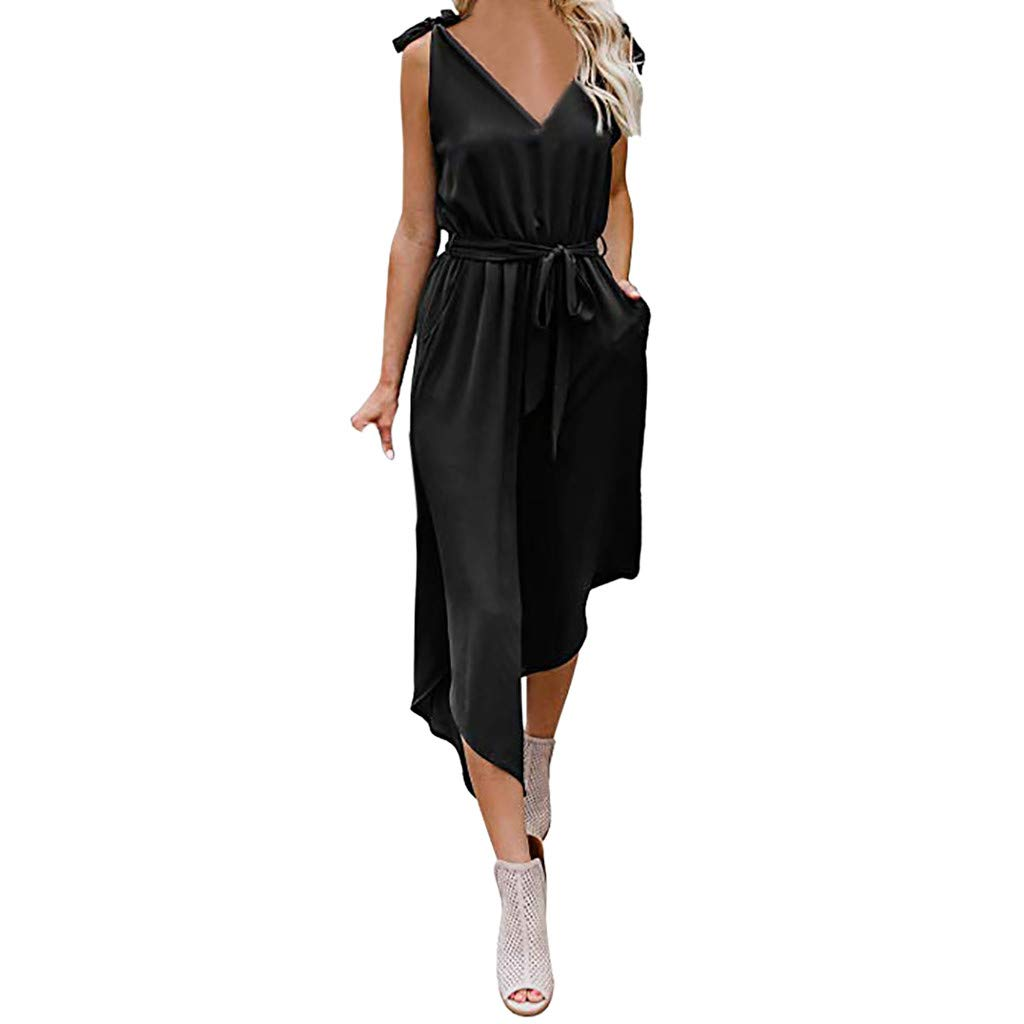 Amazon.com: YKARITIANNA Women Outfit Sleeveless Shoulder Bandage Waistband V-Neck Jumpsuit with Belt: Arts, Crafts & Sewing