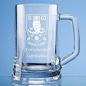 Personalised Sheffield Wednesday FC Crest Stern Glass Pint Tankard