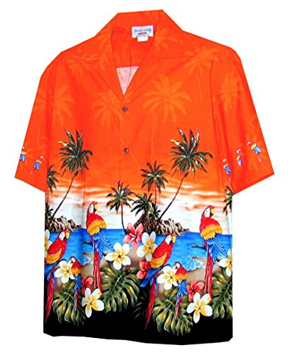 Pacific Legend Parrots Beach Border Hawaiian Shirt (2X, Orange)