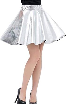 Jumojufol Minifaldas De Patinadora De Club De Cuero Artificial ...