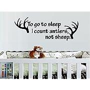 TO GO TO SLEEP I COUNT ANTLERS NOT SHEEP DEER ANTLERS KIDS ROOM VINYL WALL DECAL HOME DECOR BEDROOM