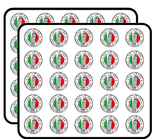 Pisa City Italy Flag Grunge Travel Stamp Sticker for Scrapbooking, Calendars, Arts, Kids DIY Crafts, Album, Bullet Journals 50 Pack