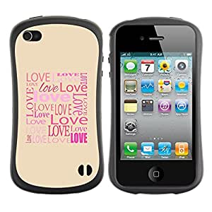 Pulsar iFace Series Tpu silicona Carcasa Funda Case para Apple iPhone 4 / iPhone 4S , Love Typography Calligraphy Message