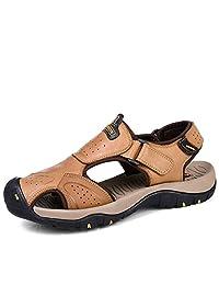 VENSHINE Mens Leather Sports Sandals Summer Hook Loop Outdoor Athletics Fisherman Beach Hiking Sandal