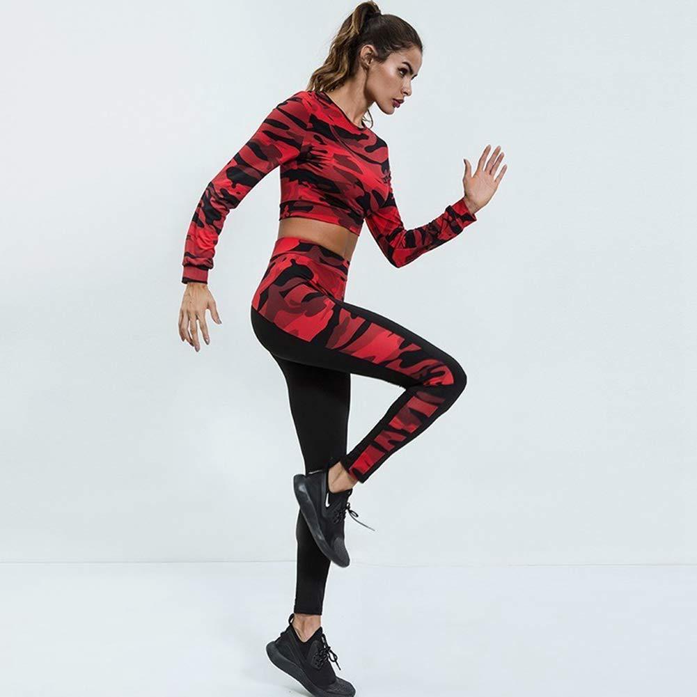 YDYL-LI Frauen Sportbekleidung Camouflage Crop Top Sportbekleidung Running Set Atmungsaktiv Schlank Fitness Kleidung Gym Jogging Workout Sport Yoga Anzug,A,S