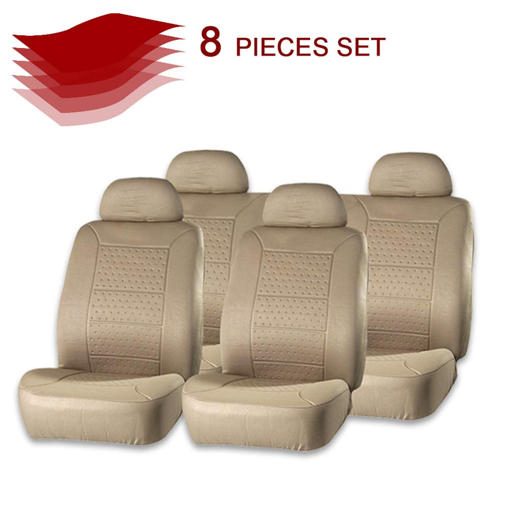 Beige cciyu Seat Cover Universal Car Seat Cushion w//Headrest 100/% Breathable Car Seat Cover Washable Auto Covers Replacement fit for Most Cars