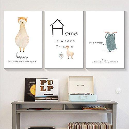 wall26 - 3 Panel Canvas Wall Art - Cute Alpaca at Home Animal Canvas Wall Art - Giclee Print Gallery Wrap Modern Home Decor Ready to Hang - 16