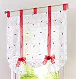 Kitchen Window Treatments Red 1pcs Floral Embroidered Tie-Up Roman Shades Tap Top LivebyCare Sheer Balcony Window Balloon Curtain Voile Drape Bowknot Drapery Valance Panels for Bedroom Decor Decorative