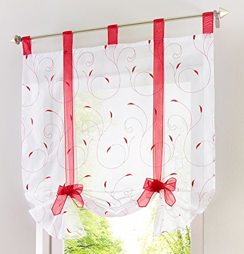 LivebyCare 1pcs Floral Embroidered Tie-Up Roman Shades Tap Top Sheer Balcony Window Balloon Curtain Voile Drape Bowknot Drapery Valance Panels for Bed Room Decor Decorative