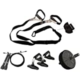 Kit Cross Fit - Corda (t79) + Roda Ab (t14) + Apoio para Flexão (t120) + Fita (t84)