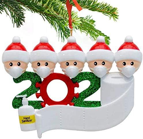 BOIROS Ciondoli d'Albero di Natale, Pendenti Natalizi Decorazioni per Casa, Sopravvissuto Famiglia Ornamento di Natale 2020, Personalizzata Fai da Te, Buono Regalo Natalizio (Famiglia-5)