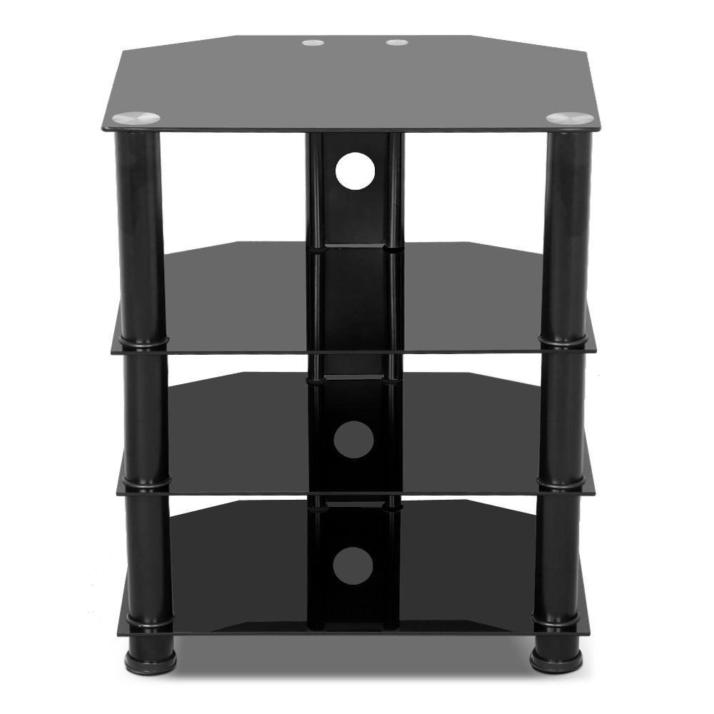 Yaheetech 4 Tier Black Glass Component Media Stand Audio Video Rack with Cable Management, Storage for Xbox, Playstation, Speakers, Cable Boxes, Desktop Glass 110Lb Capacity