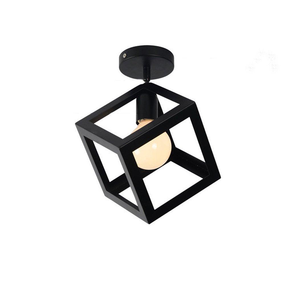 Ecobrt modern kitchen ceiling lightsblack square metal cube ceiling light fixtures for indoor bedroom flush mount lights in living room e26 bulb