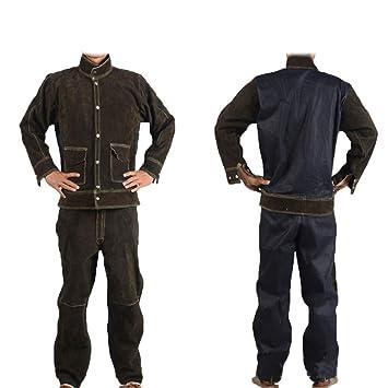 Festnight Overoles De Soldadura, Resistente al calor Tarea pesada Soldadura protectora Traje de caldera Ropa de trabajo para soldador carpintero herrero: ...