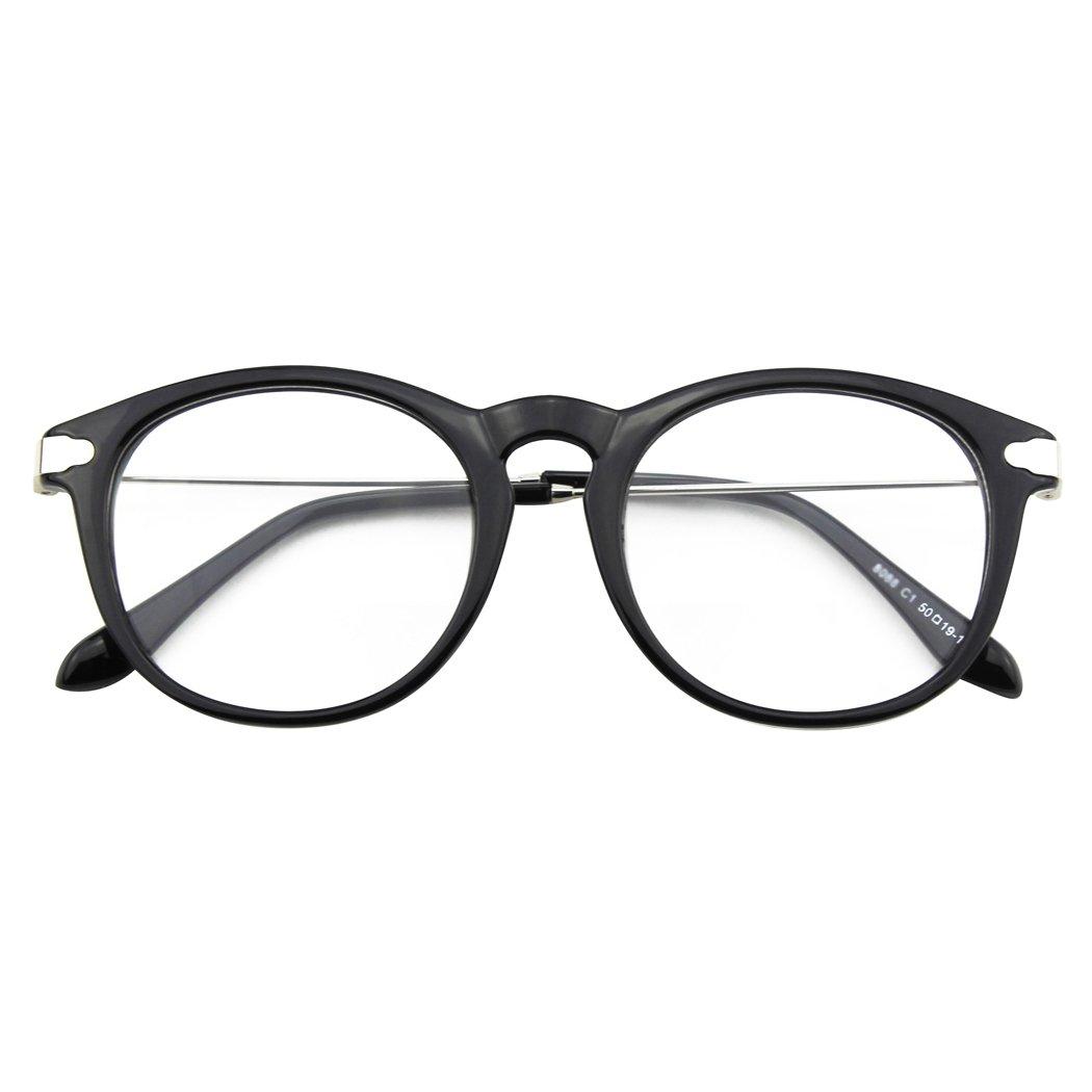 CGID CN88 Fashion Keyhole Metal Temple Oval Horn Rimmed Clear Lens Glasses Black Spot UKFBA8088b-03