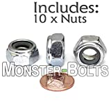(10) M10 x 1.50 Zinc Nylon Insert Hex Lock