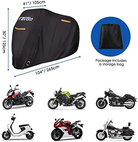"Favoto Motorcycle Cover All Season Universal Weather Quality Waterproof Sun Outdoor Protection Durable Reflective Stripe with Lock-Holes & Storage Bag Fits as much as 104"" Motorcycle Vehicle Cover"
