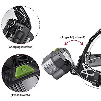 ZIYUO 50000LM 5x XM-L T6 LED Headlamp Rechargeable HeadLight Zoomable USB Charge cable