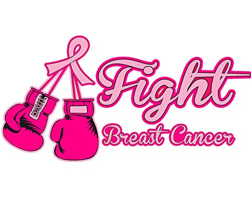 Stick It On Decals Breast Cancer 'Fight Breast Cancer' Boxing Glove Pink Ribbon Car Decal/Sticker