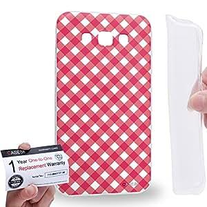 Case88 [Samsung Galaxy E7] Gel TPU Carcasa/Funda & Tarjeta de garantía - Art Coloured Doodle Patterns Pink Checker Art1406