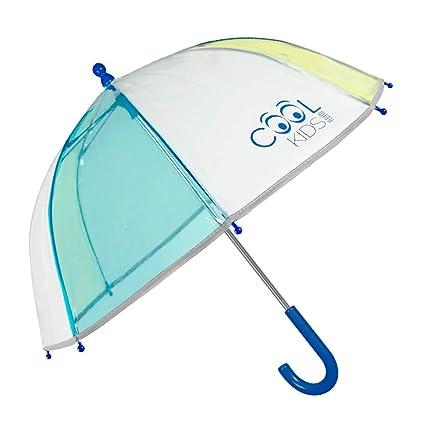 Paraguas Transparente Niño Azul Amarillo con Ribete ...