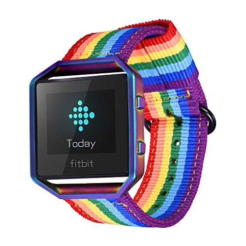 for Fitbit Blaze Bands, Bandmax Denim Fabrics Rainbow Band Replacement with Colorful Frame Black Buckle for Fitbit Blaze Smart Fitness (Rainbow Band)