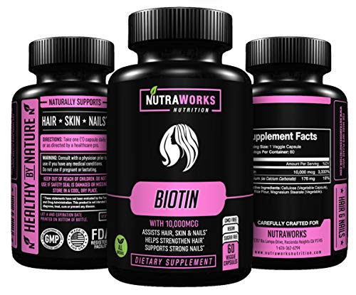 Biotin (Extra Strength) 10000mcg – Premium Hair, Skin and Nail Supplement. Supports Hair Growth, Glowing Skin and Strong Nails – High Potency, Vegan, All Natural, GMO & Sugar Free – 60 Veggie Capsules For Sale