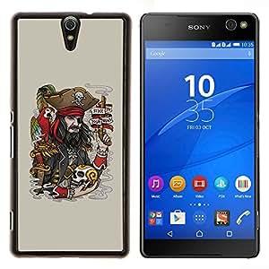 EJOOY---Cubierta de la caja de protección para la piel dura ** Sony Xperia C5 Ultra ** --Divertido pirata y cráneo