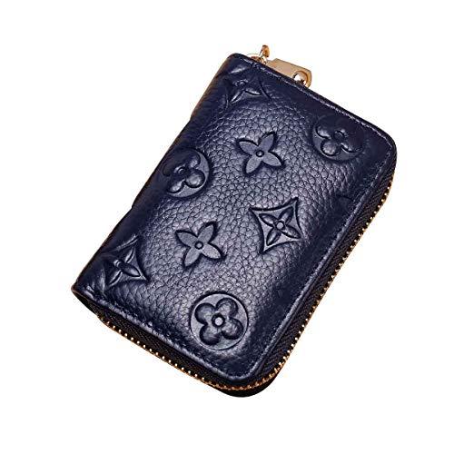 - Auner Women RFID Blocking Credit Card Holder Leather Cute Small Zipper Wallet - Blue