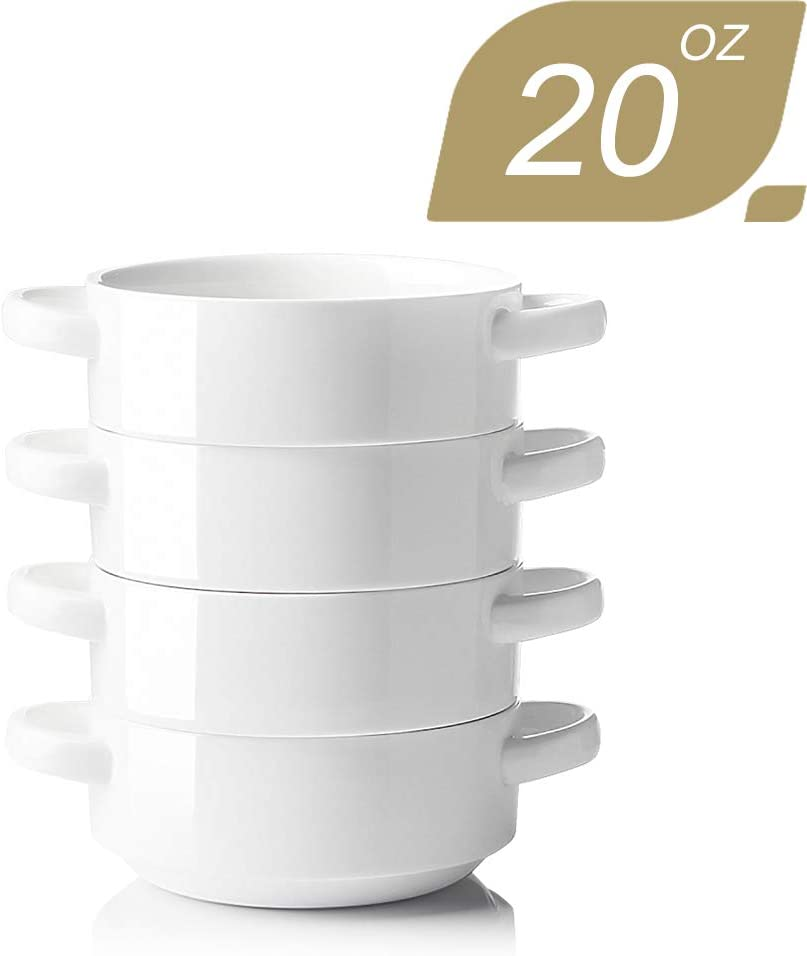 SWEEJAR Ceramic Soup Bowl with Double Handles, 20 Oz Stacked Bowls for French Onion Soup, Cereal, Stew, Chill, Pasta, Set of 4 (White)