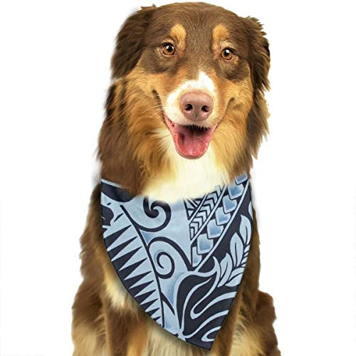 MODREACH Dog Bandana Polynesian Tattoo Tapa Designs in Blue Pet Triangle Scarf Festive Accessory for Puppies]()
