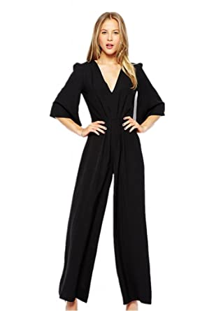 c845b11eeea Amazon.com  Cfanny Women s Bell Sleeves Tunic Wide Leg Jumpsuits One ...