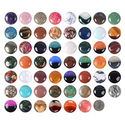 Wholesale Lot 24pcs Multi-color 30mm Gemstone Round Cab Cabochon For Jewelry Making ()