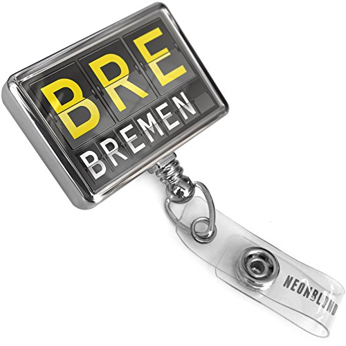 Bremen Port - Retractable ID Badge Reel BRE Airport Code for Bremen with Bulldog Belt Clip On Holder Neonblond