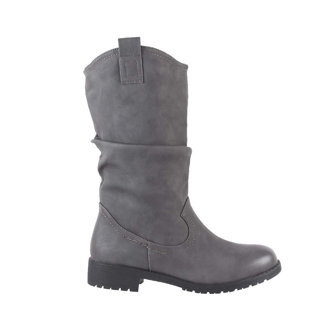 Botines de vaquero con, aspecto de piel, cómodas, con tacón, y cierre de cremallera, forradas, para mujer: Amazon.es: Zapatos y complementos