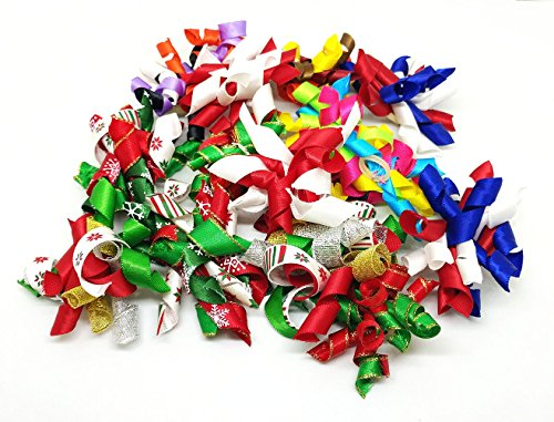 PET SHOW Pet Small Dogs Hair Bows With Rubber Bands Cat Hair Accessories Grooming Supplies Curly Assorted Styles Pack of 20 by PET SHOW (Image #1)