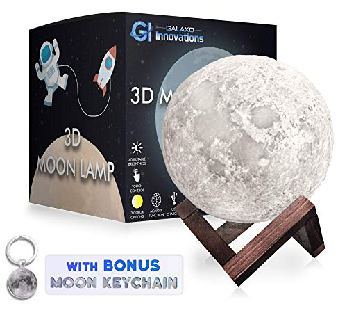 Galaxo 3D Moon Lamp 5.9 inch with Dark Wooden Stand, 3 LED Color Options, Adjustable Brightness, Touch Control, USB Charging, Gift Box, Modern Lunar Night Light]()