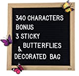 Black Felt Letter Board 10 x 10 Inches, Changeable Letter Board with 340 White Letters, Oak Frame + 3 Sticky Butterflies