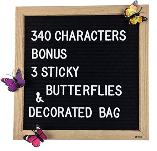 Black Felt Letter Board 10 x 10 Inches, Changeable Letter Board with 340 White Letters, Oak Frame + 3 Sticky Butterflies by Dr.929