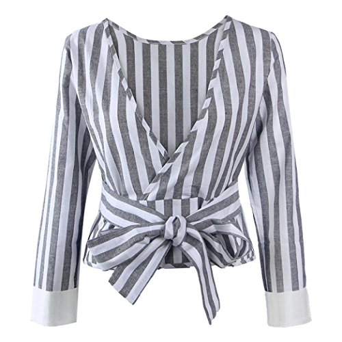 [Laimeng, Women Casual Long Sleeve Striped Loose Shirt Blouse Tops (S, Gray)] (S Costume Ideas For Women)