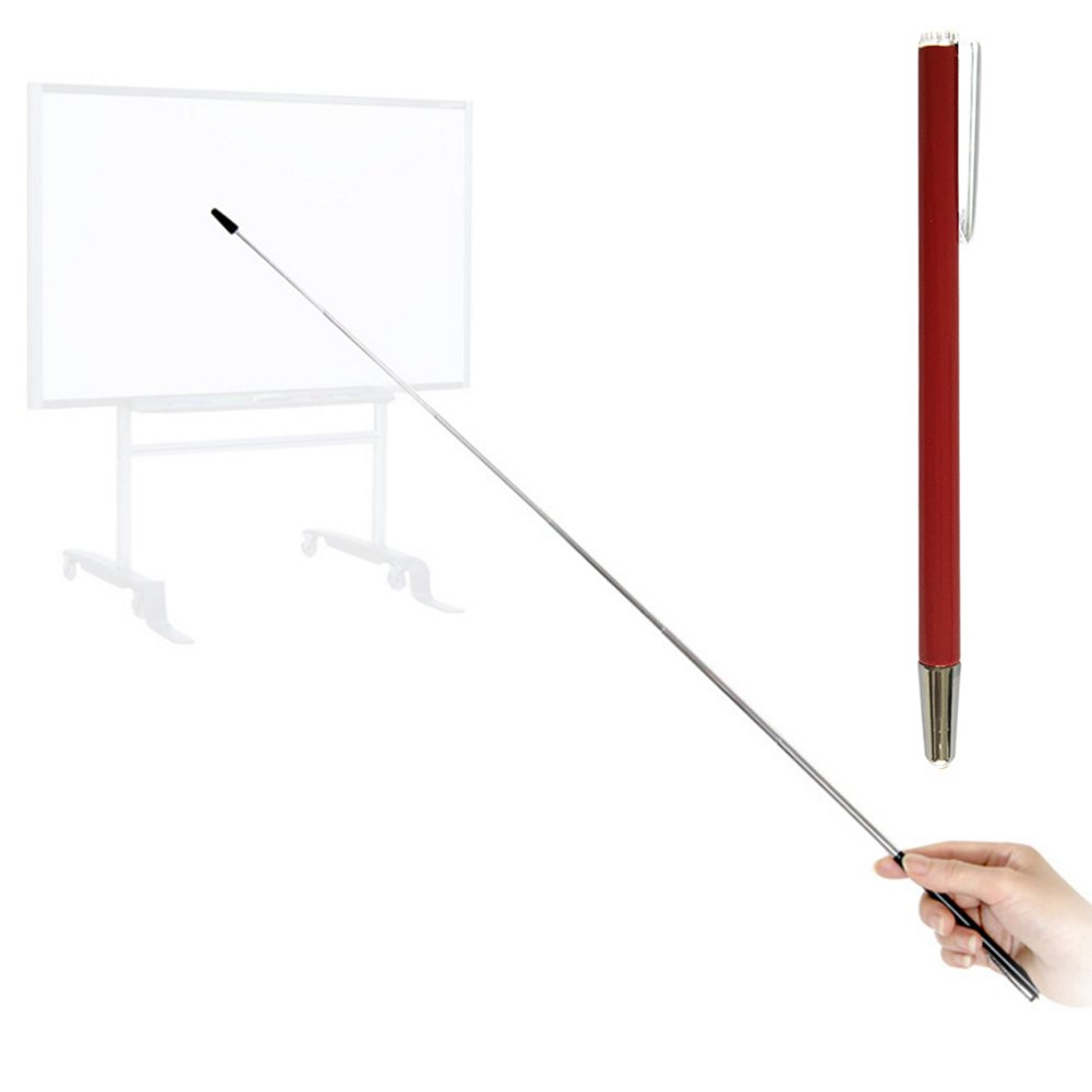 Pointer - Teachers Pointer - Teaching Pointer - Hand Pointer Extended Length, Presenter Whiteboard Pointer, Black Matte with Chrome Trim (Red-2pcs) Day Tip