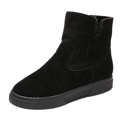 ZHRUI Botas Mujer Zapatos Botines Moda Mujer Sólido Faux Suede Cálido Botas para la Nieve Creepers