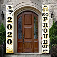 Graduation Porch Sign, Class of 2020 Graduation Party Supplies Congrats Hanging Banner Set for Home Front Door Wall (Gold)
