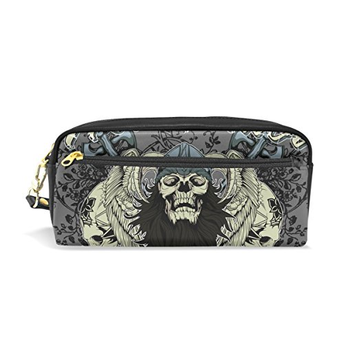 Discovery Princess Vanity (Punk Skull Pencil Case Portable Pen Organizer Bag PU Leather Large Capacity)