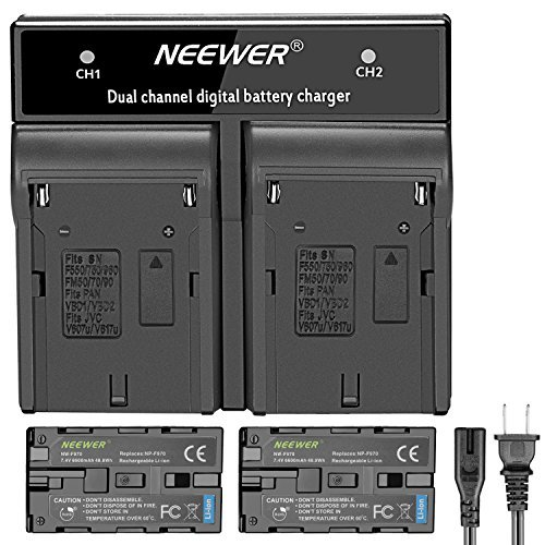 Neewer 2-Pack 6600mAh Replacement Battery with ChargerforSon