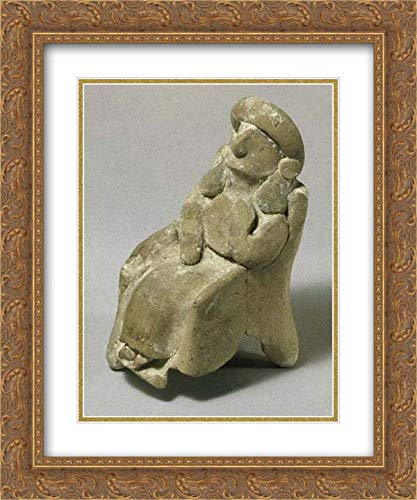 Cypriot Culture - 20x24 Gold Ornate Frame and Double Matted Museum Art Print - Seated Female Figurine