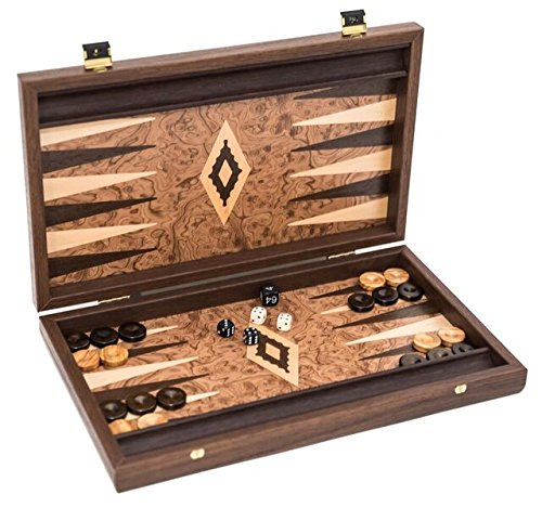 Bello Games New York, Inc. Andreas Luxury Burl Backgammon Set from Greece 14 (Checker Set Walnut Game Box)