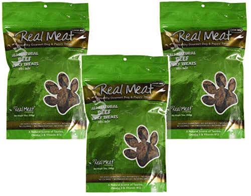 Real Meat Company 3 Pack of All Natural Beef Jerky Treats, 12 Ounces Each, Healthy Grain-Free Dog Treats with Taurine Omega 3 and Vitamin B12 (Omega Beef Treats)