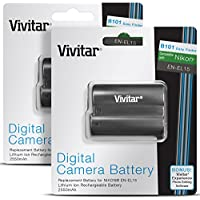 (2 Pack) Vivitar EN-EL15 Li-Ion Rechargeable Batteries for NIKON DSLR D810, D750, D7200, D7100, D7000, D800E, D800, D610, D600, NIKON 1 V / High Capacity 2500mAh (Nikon EN-EL15 Replacement)