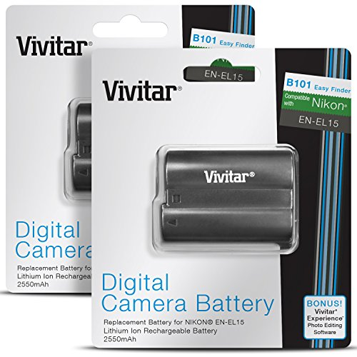 EN-EL15 Vivitar Battery Set for Nikon D850, D810, D800, D750, D7500, D7200, D7100, D610, D600, 1 V1 (2-Pack Li-Ion Rechargeable Replacement Batteries, 2500mAh, 100% Compatible with Original)